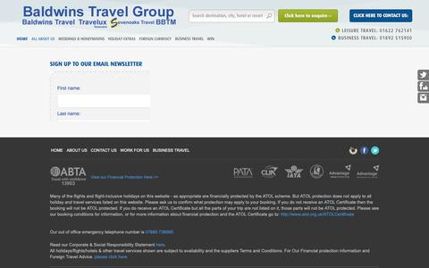 Screenshot of Signup Page baldwinstravel.co.uk - Sign up - Baldwins Travel - The largest independent retail & business travel agency in KentBaldwins Travel - captured Oct. 20, 2018