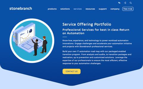 Screenshot of Services Page stonebranch.com - Service Offering Portfolio | Stonebranch - captured June 17, 2017