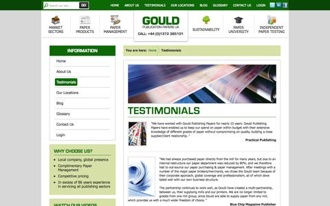 Screenshot of Testimonials Page gouldpublicationpapers.co.uk - Customer Testimonials: Gould Publication Papers - captured Sept. 30, 2014