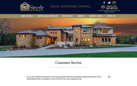 Screenshot of Support Page sitterlehomes.com - Sitterle Homes | New Homes in San Antonio, Austin and Houston - captured Oct. 20, 2018