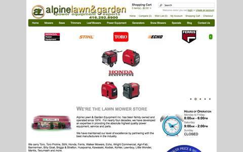 Screenshot of Home Page alpinelawn.com - Alpine Lawn & Garden Equipment | Lawn Mowers | Snow Blowers | Landscaping Equipment | Toronto Ontario - captured Oct. 4, 2014