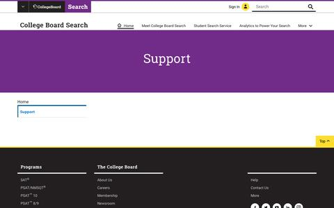 Screenshot of Support Page collegeboard.org - P2:CB Search Support | College Board Search - captured Jan. 4, 2019