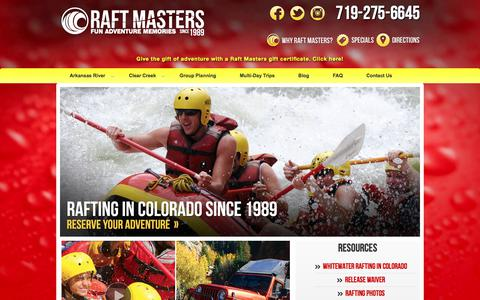 Screenshot of Home Page raftmasters.com - Colorado River Rafting & Whitewater Rafting Packages | Raft Masters - captured June 16, 2017