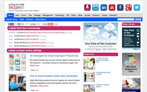 Screenshot of Home Page Menu Page callcentrehelper.com - Call Centre Helper Magazine - captured Sept. 18, 2014