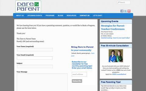 Screenshot of Contact Page daretoparent.com - Contact Dare to Parent | Dare to Parent - captured Oct. 5, 2014