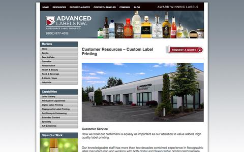 Screenshot of Support Page advancedlabelsnw.com - Custom Printed Labels, Adhesive Labels & Decals - Advanced Labels NW - captured July 29, 2018