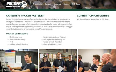Screenshot of Jobs Page packerfastener.com - Careers | Packer Fastener - captured Sept. 16, 2018