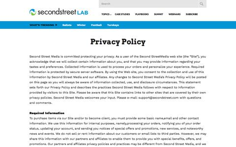 Screenshot of Privacy Page secondstreet.com - Privacy Policy | Second Street Lab - captured Sept. 25, 2018