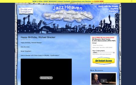 Screenshot of Blog jazzheaven.com - How to Play Jazz Lessons & Jazz Improvisation Videos with the Greats - captured Oct. 26, 2014