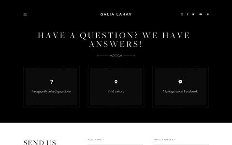 Screenshot of Contact Page galialahav.com - Have a question? We have answers! - Galia Lahav - captured Nov. 4, 2018