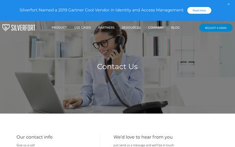 Screenshot of Contact Page silverfort.com - Get In Touch With Us | Silverfort - captured July 15, 2019