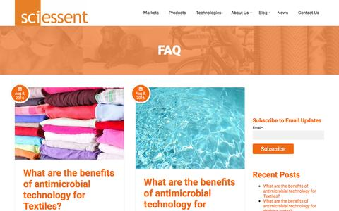 Screenshot of FAQ Page sciessent.com - FAQ's About Antimicrobial, Water Repellent Technology & More - captured Nov. 19, 2016