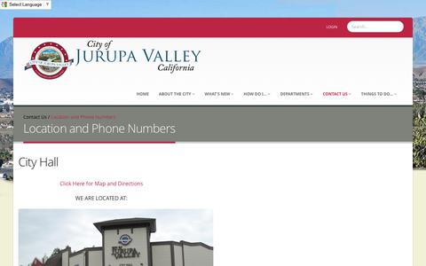 Screenshot of Contact Page Maps & Directions Page jurupavalley.org - City of Jurupa Valley > Contact Us > Location and Phone Numbers - captured May 20, 2016