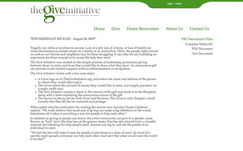 Screenshot of Press Page thegiveinitiative.org - For The Media - captured Sept. 21, 2018