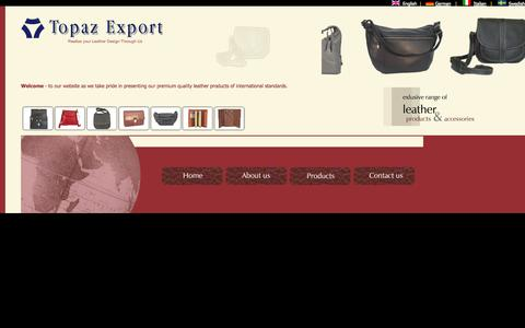 Screenshot of Home Page topazleather.com - Topaz Export - Ladies Leather Bags, Men's Leather Bags, Leather Wallets, Leather Portfolios, Leather Organizers, Small Leather Goods - captured Oct. 7, 2014