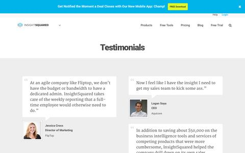 Screenshot of Testimonials Page insightsquared.com - Testimonials with our Business Intelligence Customers - captured Oct. 1, 2015