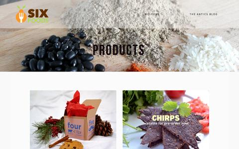 Screenshot of Products Page sixfoods.com - Products — Six Foods - captured Dec. 17, 2014