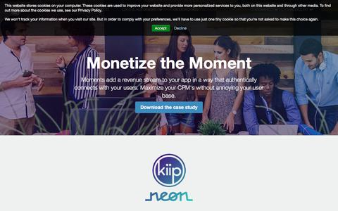Screenshot of Developers Page kiip.me - Developers | In App and Mobile Web Monetization Solutions - captured July 13, 2018