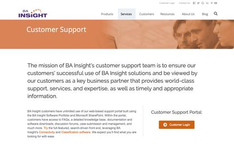 Screenshot of Support Page bainsight.com - Enterprise Search Software Comparison | BA Insight Professional Services - captured Nov. 4, 2018