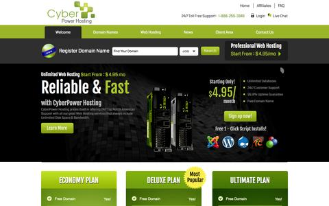 Screenshot of Home Page cyberpowerhosting.com - Web Hosting | Cheap Website Hosting & Domain Name Services - captured Sept. 30, 2014