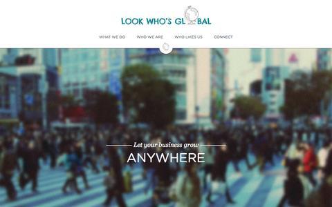 Screenshot of Home Page lookwhosglobal.com - Look Who's Global - captured Jan. 21, 2015