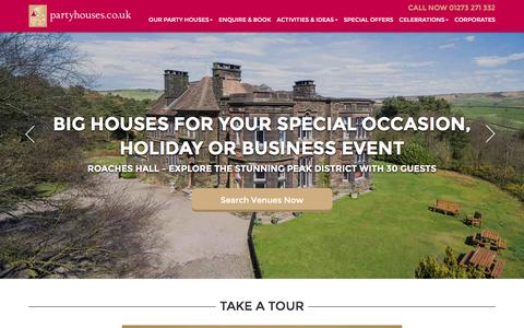 Screenshot of Home Page partyhouses.co.uk - Large Group Accommodation UK - Large Holiday Houses - captured Oct. 22, 2016