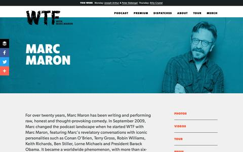 Screenshot of About Page wtfpod.com - Marc Maron — WTF with Marc Maron Podcast - captured Sept. 8, 2016