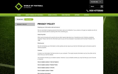 Screenshot of Privacy Page worldoffootball.com - Privacy policy | Edinburgh Corn Exchange - captured Oct. 1, 2014
