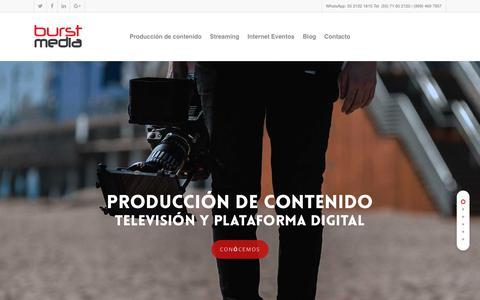 Screenshot of Home Page burstmedia.com.mx - Produccion y streaming de contenido en vivo - captured Oct. 4, 2018