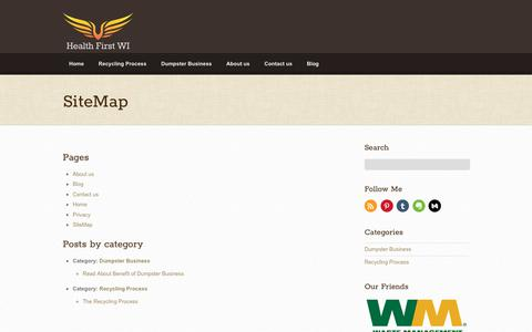 Screenshot of Site Map Page healthfirstwi.org - SiteMap - Health First WI - captured July 28, 2017