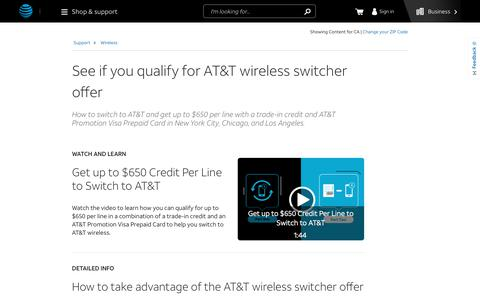 See If You Qualify for AT&T Wireless Switcher Offer - Wireless Support