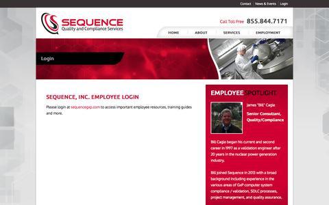 Screenshot of Login Page sequenceqcs.com - Employee Login | Sequence, Inc. - captured Oct. 3, 2014