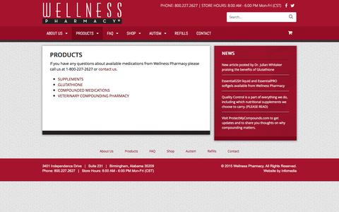 Screenshot of Products Page wellnesspharmacy.com - Products - Wellness Pharmacy - captured March 11, 2016