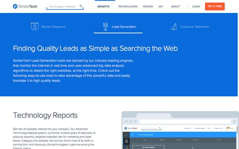 Screenshot of similartech.com - Lead Generation with SimilarTech - captured March 19, 2016