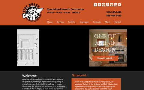 Screenshot of Home Page fire-works-fireplace.com - Fire Works Fireplace | Specialized Hearth Contractor | Minnesota - captured Aug. 3, 2016