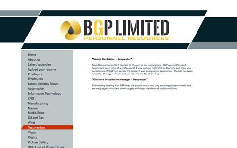 Screenshot of Testimonials Page bgplimited.com - BGP - Testimonials - captured Dec. 28, 2015