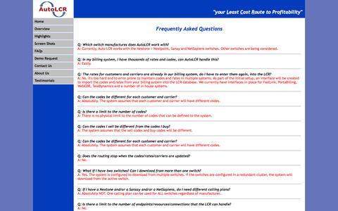 Screenshot of FAQ Page autolcr.com - AutoLCR - FAQs - captured Oct. 4, 2014