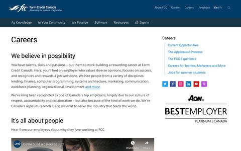 Screenshot of Jobs Page fcc-fac.ca - Careers  - Farm Credit Canada - captured July 18, 2019