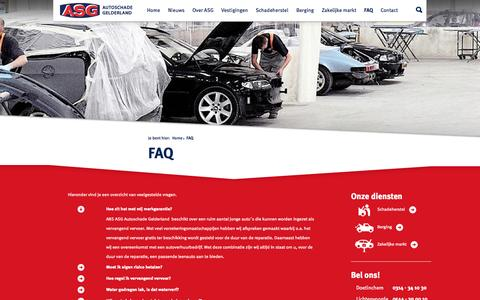 Screenshot of FAQ Page autoschadegelderland.nl - FAQ - ASG - Autoschade Gelderland - captured Nov. 2, 2014