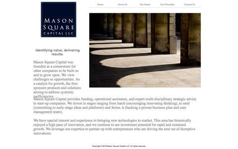 Screenshot of About Page mason2capital.com - Mason Square Capital LLC - captured Oct. 27, 2014