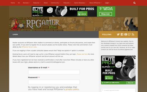 Screenshot of Login Page rpgamer.com - Login – RPGamer - captured Sept. 23, 2018