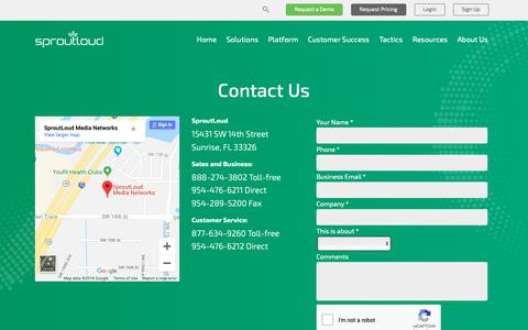 Screenshot of Contact Page sproutloud.com - Contact Us | SproutLoud - captured Dec. 16, 2018