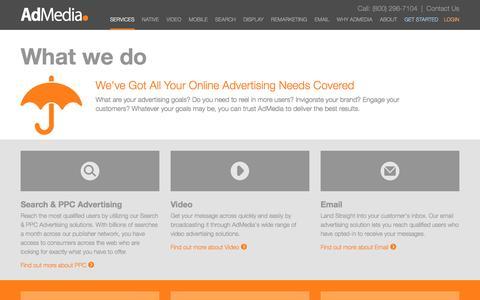 Screenshot of Services Page admedia.com - AdMedia Online Ad Network | What We Do - captured Dec. 23, 2015