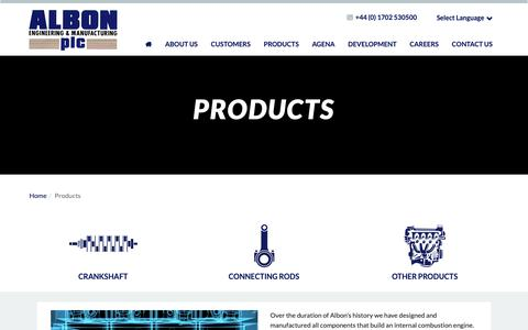 Screenshot of Products Page albonplc.com - Albon | Products | Essex - captured Oct. 3, 2018