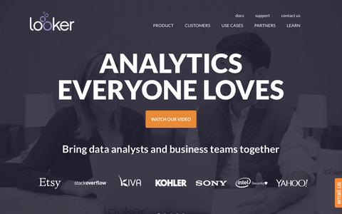 Screenshot of Home Page looker.com - Looker | Business and data analytics that everyone loves | Looker Data Sciences - captured March 7, 2016