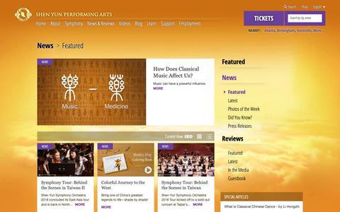 Screenshot of Press Page shenyun.com - Shen Yun Reviews, News, and Features - captured Oct. 10, 2018
