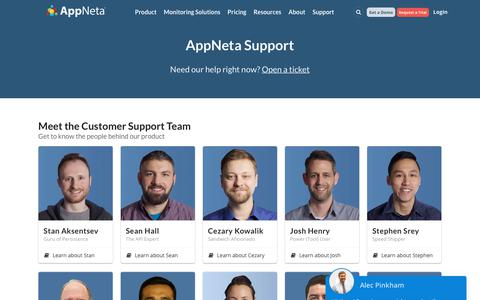 Screenshot of Support Page appneta.com - Complete Customer Support and Onboarding | AppNeta - captured July 27, 2018
