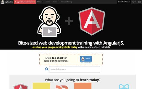 Screenshot of Home Page egghead.io - egghead.io - Learn AngularJS with Tutorial Videos & Training  @eggheadio - captured Sept. 23, 2014