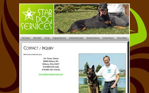 Screenshot of Contact Page stardogservices.com - STAR Dog Services - Puppy Socialization and Foundation Training, Dog Behavior Development - captured Feb. 3, 2016