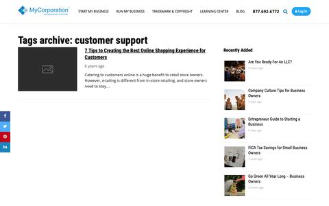 Screenshot of Support Page mycorporation.com - customer support Archives - Mycorporation - captured April 29, 2019